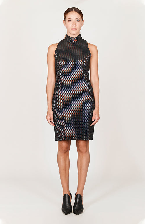 Square Jacquard Sleeveless Fitted Dress w/ Collar - Capsule 2