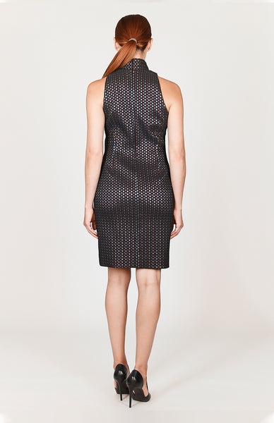 Square Jacquard Sleeveless Fitted Dress w/ Collar