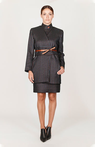 Square Jacquard Open Duster w/ Belt