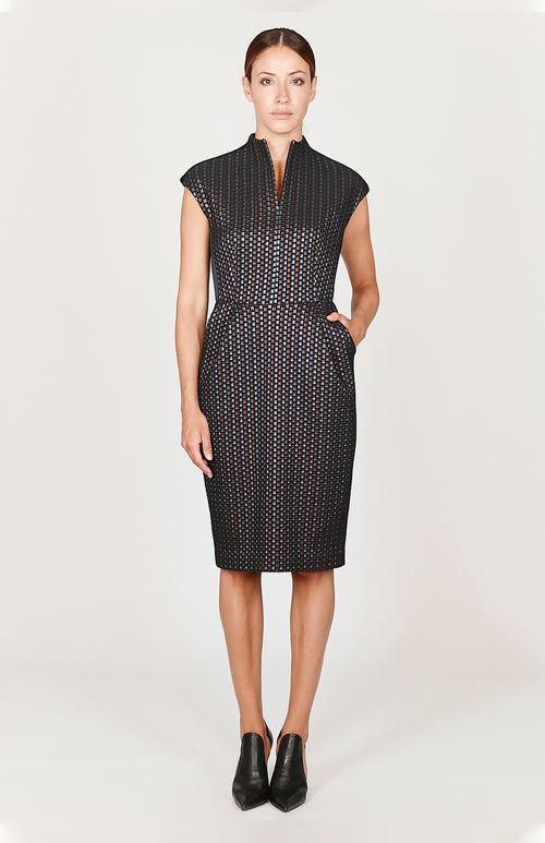 Square Jacquard Mock Neck Fitted Dress w/ Cap Sleeve - Capsule 2