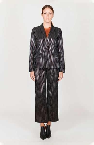 Square Jacquard Jacket w/ Center Front Button