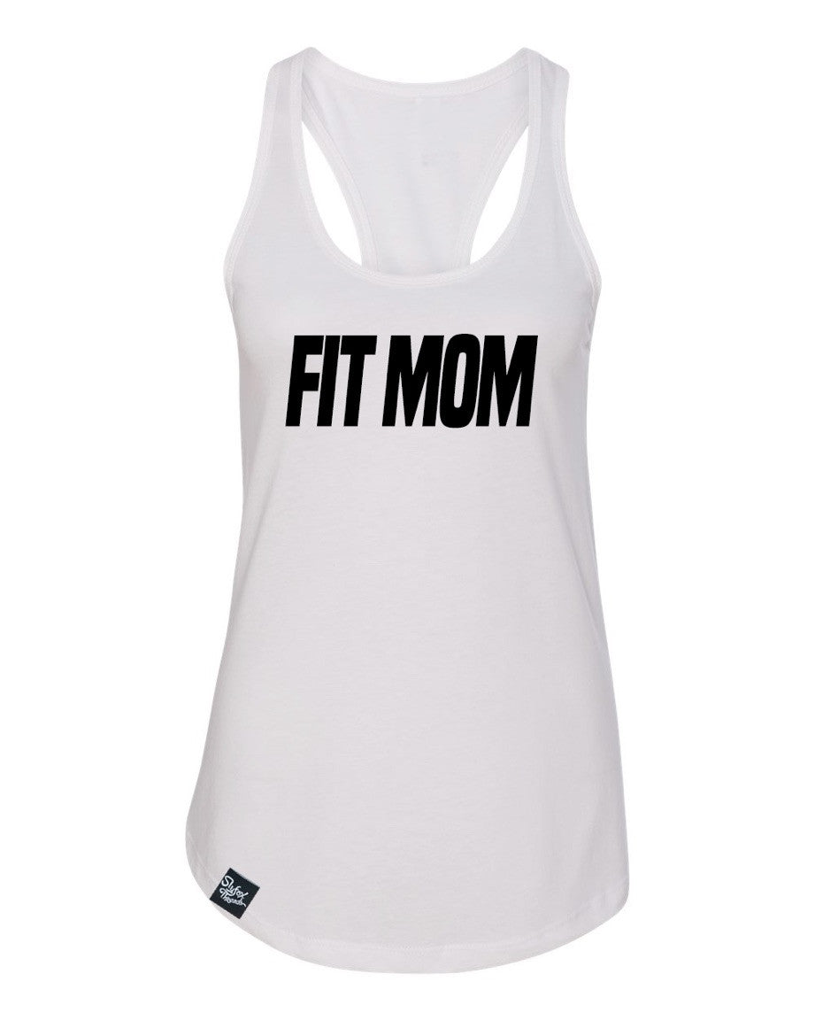 Fit Mom White Racerback Tank
