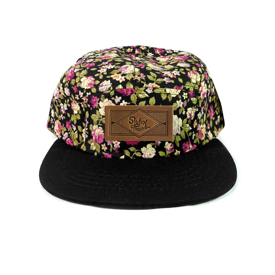 Kids Black Floral Camp Hat