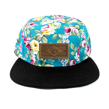 Kids Teal Floral Camp Hat