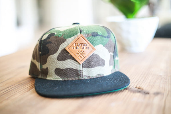 Kids Camo Snapback Black Rim Hat