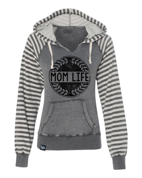 Mom Life Grey Striped Sweater