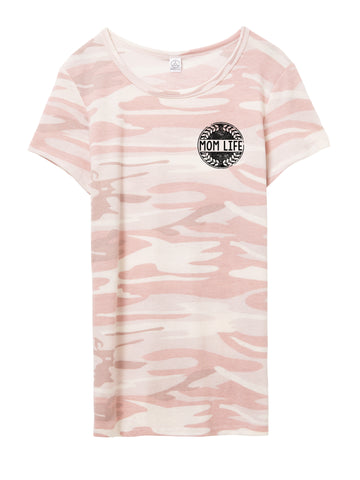 Mom Life Pocket Tee Blush Camo