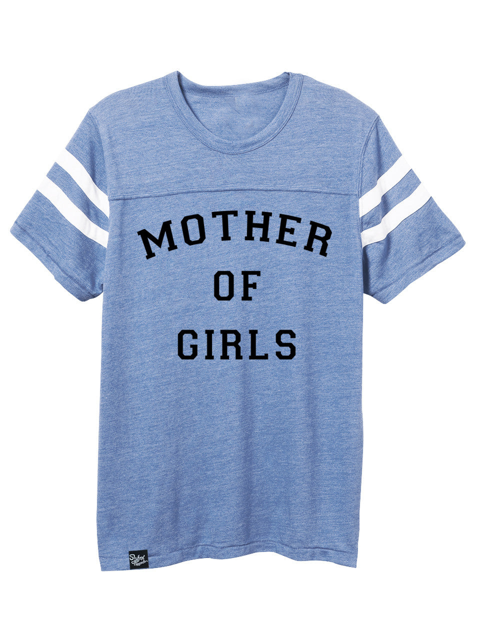 Mother of Girls Blue Football Tee