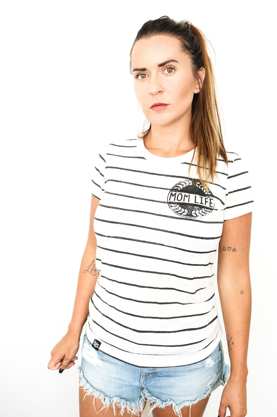 Mom Life Vintage Striped Tee
