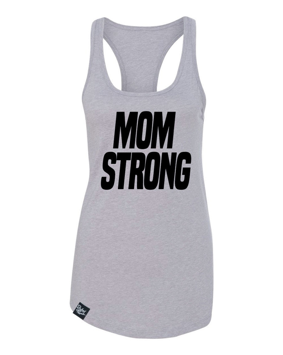 Mom Strong Grey Racerback Tank