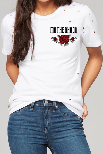 Motherhood Distressed tee