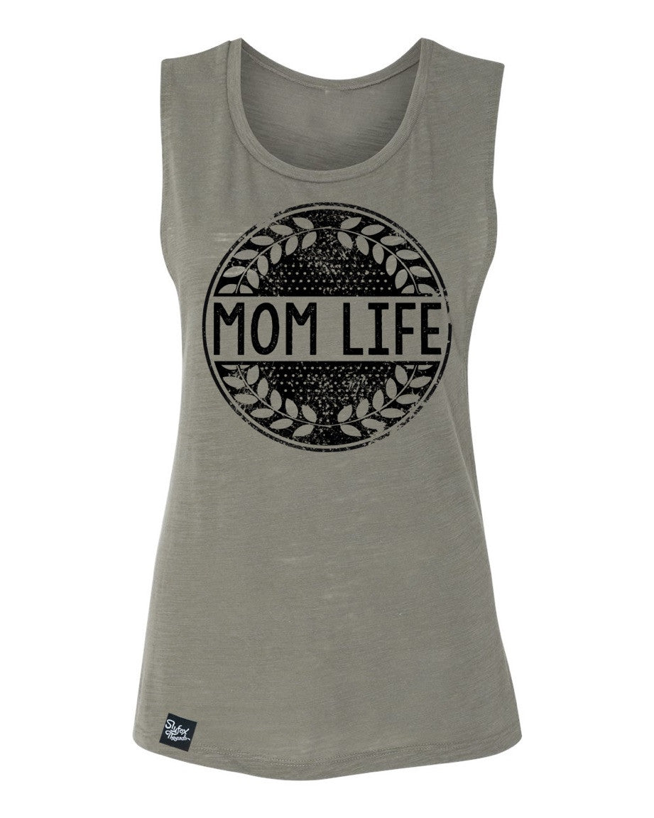 Mom Life Olive Muscle Tank