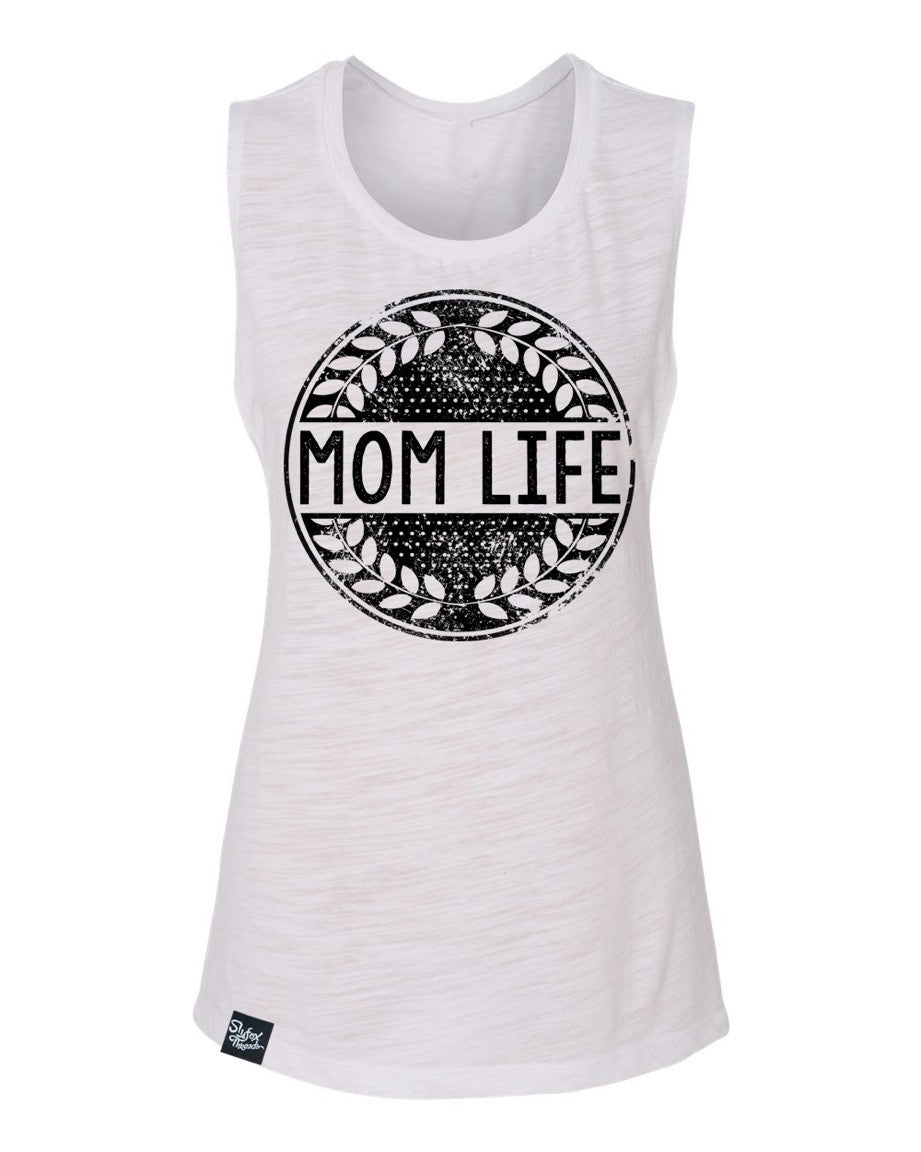 Mom Life White Muscle Tank