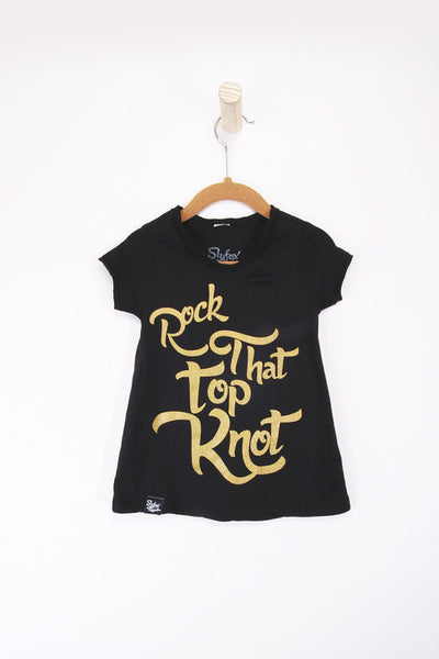 Rock That Top Knot Kids Gold Tee - CLOSEOUT 3/6M ONLY