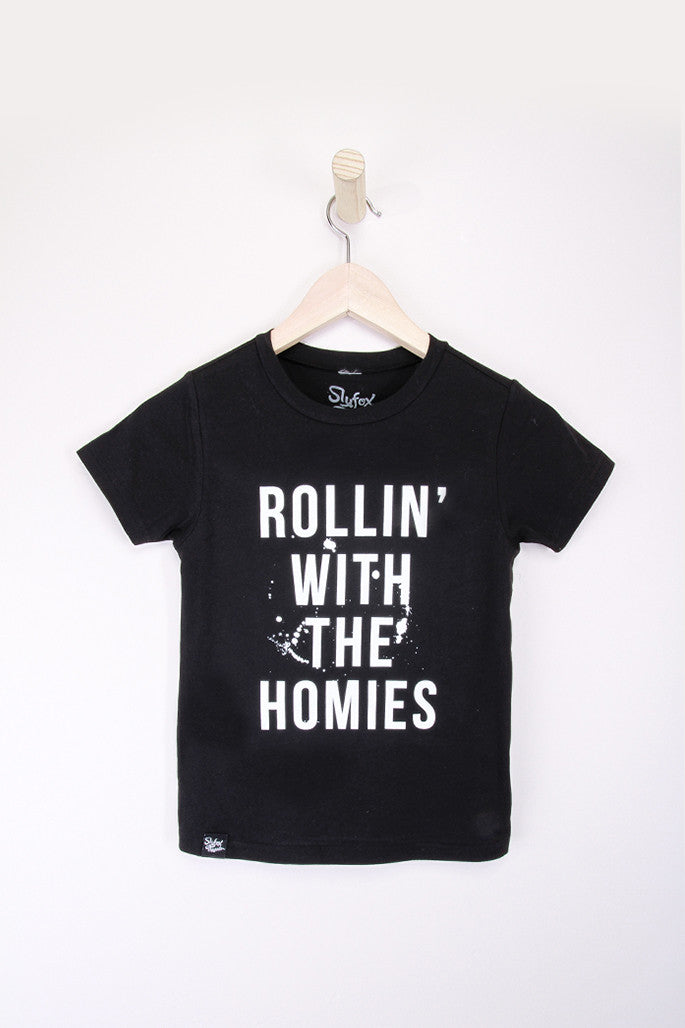 Rollin with the Homies Black Tee