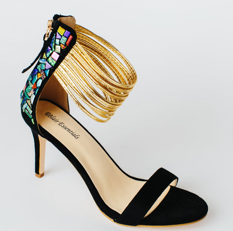 """Lindsey Blair"" Shoes - Gold Strap with Glass going up the Heel"