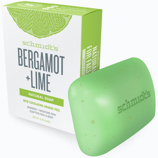 Schmidt's Natural Bar Soap BERGAMOT + LIME WITH EXFOLIATING ORANGE PEEL