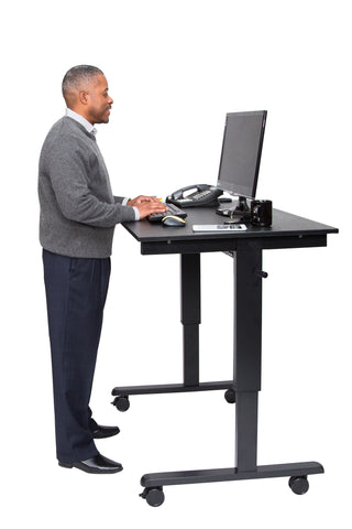 "Crank Height Adjustable Mobile Stand Up Desk STANDCF48""-BK/BO"
