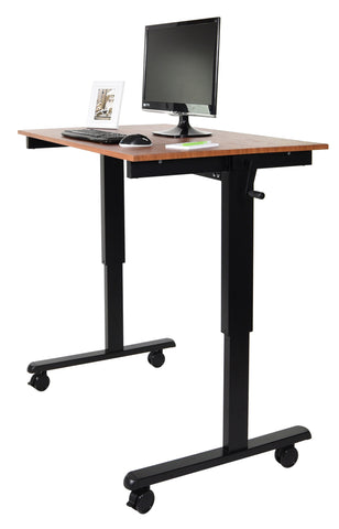 "Crank Adjustable Stand Up Mobile Desk STANDCF48""-BK/TK"