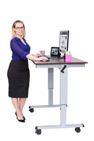 "Crank Height Adjustable Mobile Stand Up Office Desk STANDUP-CF48""-DW"