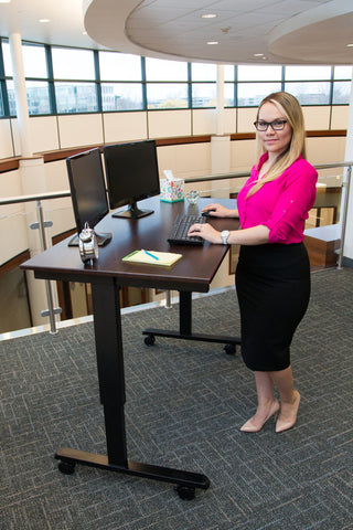 "Electric Height Adjustable Mobile Standing Desk STANDE-60""BK/DW"
