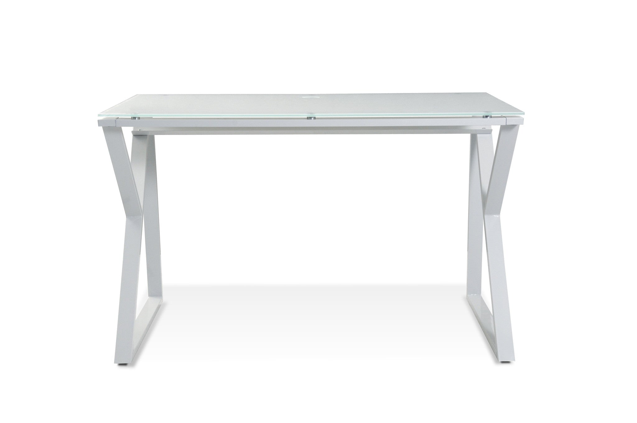 pure white glass top writing desk  steel base by unique  - pure white glass top writing desk  steel base