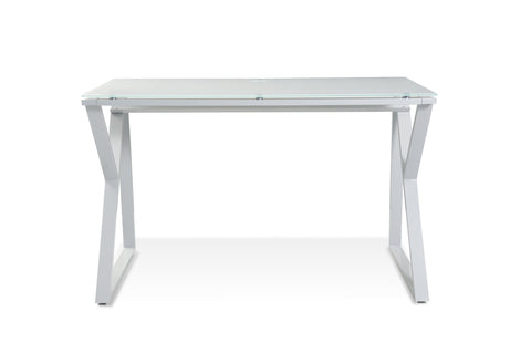 Pure White Glass Top Writing Desk 223 Steel Base