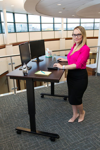 "Electric Height Adjustable Mobile Standing Desk STANDE-60""-AG/DW"