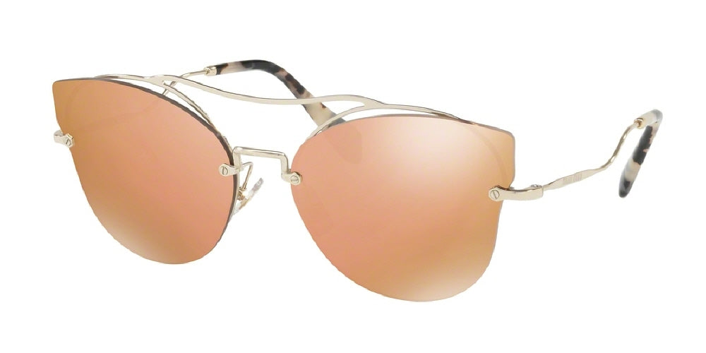 a7d7a79fe7cba Miu Miu Sunglasses - CAT EYE MU 52SS ZVN6S0 62 ROSE GOLD MIRROR PALE DARK  BROWN Women s Rimless Butterfly