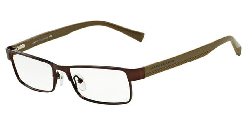 7pm view of Armani Exchange Eyeglasses - URBAN ATTITUDE AX1009 6052 53 SATIN COFFEE BROWN CAPERS BLACK GREY CLEAR DEMO LENS Men's Rectangle Full Rim