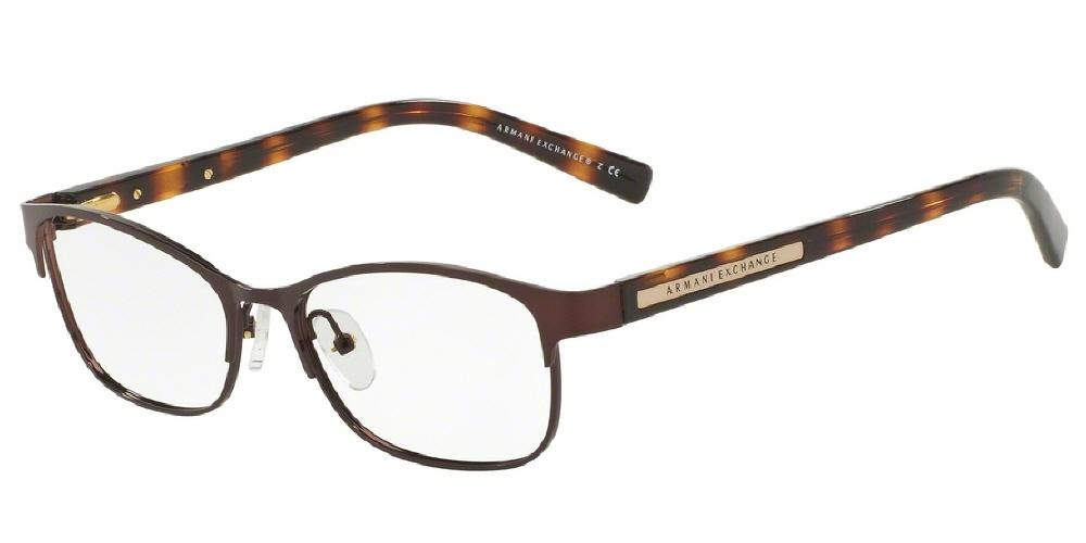 7pm view of Armani Exchange Eyeglasses - FOREVER YOUNG AX1010 6001 53 BROWN CLEAR DEMO LENS Women's Oval Full Rim