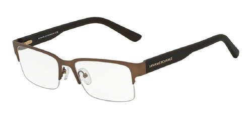 7pm view of Armani Exchange Eyeglasses - FOREVER YOUNG AX1014 6058 53 SATIN DARK BROWN OLIVE GREEN CLEAR DEMO LENS Men's Rectangle Semi Rim