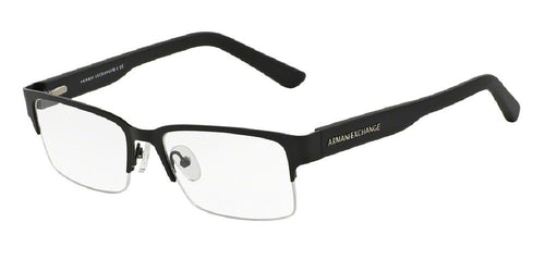 7pm view of Armani Exchange Eyeglasses - FOREVER YOUNG AX1014 6063 53 SATIN MATTE BLACK CLEAR DEMO LENS Men's Rectangle Semi Rim