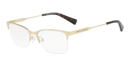 7pm view of Armani Exchange Eyeglasses - FUN ABOUT TOWN AX1023 3124 53 MATTE PALE GOLD CLEAR DEMO LENS Women's Rectangle