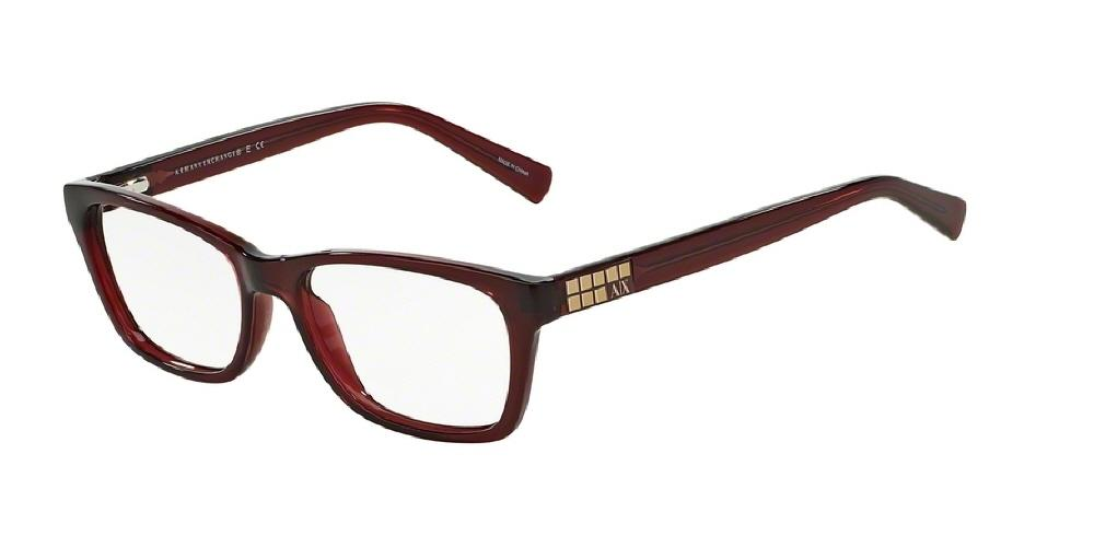 7pm view of Armani Exchange Eyeglasses - URBAN ATTITUDE AX3006 8003 52 BERRY RED TRANSPARENT CLEAR DEMO LENS Women's Rectangle Full Rim