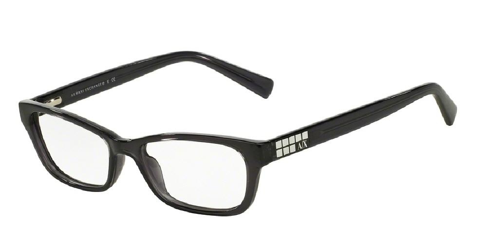 7pm view of Armani Exchange Eyeglasses - URBAN ATTITUDE AX3008 8005 49 BLACK TRANSPARENT CLEAR DEMO LENS Women's Rectangle Full Rim