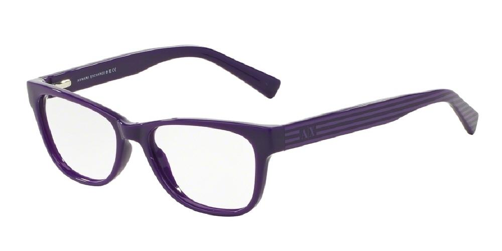 7pm view of Armani Exchange Eyeglasses - FUN ABOUT TOWN AX3020 8151 52 DARK PURPLE GRAPE STRIPE CLEAR DEMO LENS Women's Rectangle Full Rim
