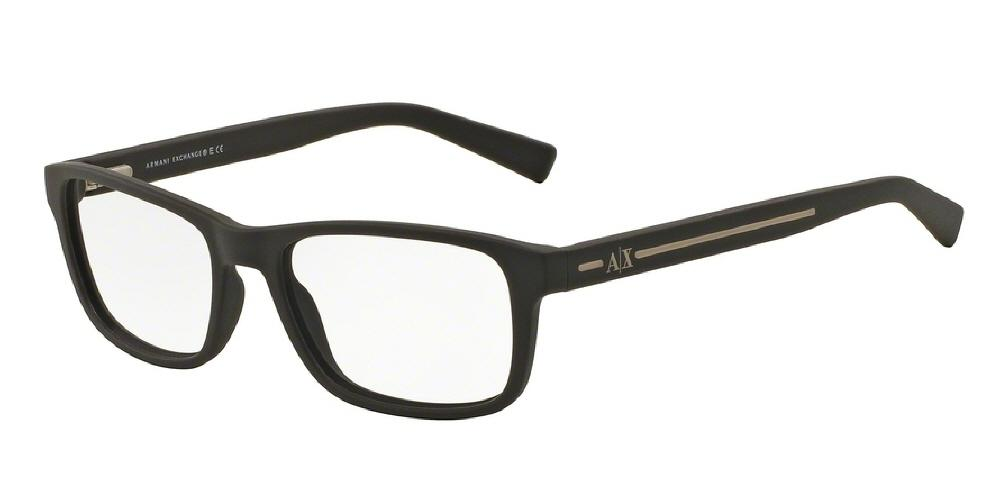 7pm view of Armani Exchange Eyeglasses - URBAN ATTITUDE AX3021 8062 54 MATTE BROWN CLEAR DEMO LENS Men's Rectangle Full Rim