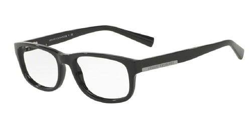 7pm view of Exchange Armani Eyeglasses - FUN ABOUT TOWN AX3031 8158 54 BLACK CLEAR DEMO LENS Men's Rectangle Full Rim