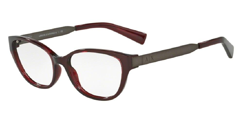 7pm view of Armani Exchange Eyeglasses - URBAN ATTITUDE CAT EYE AX3033 8003 54 OPAL BURGUNDY RED CLEAR DEMO LENS Women's Full Rim Butterfly