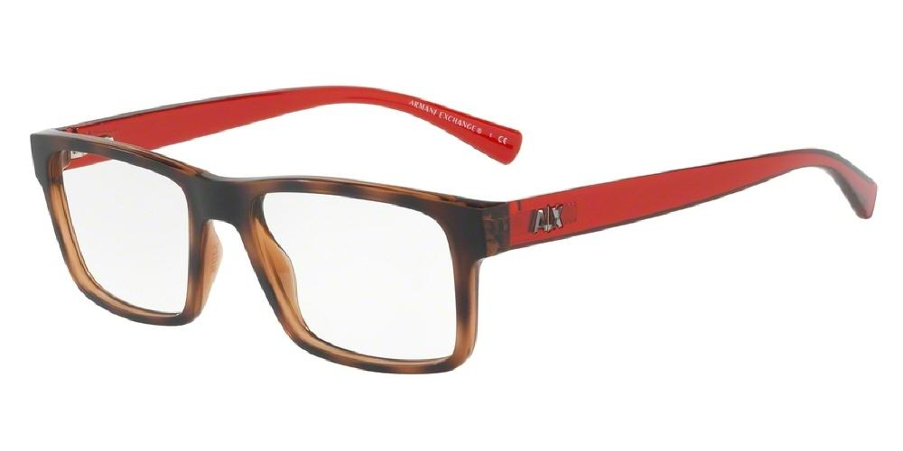 7pm view of Armani Exchange Eyeglasses - FUN ABOUT TOWN AX3042 8215 54 TRANSPARENT CHAMPAGNE TOP MATTE TORTOISE HAVANA CLEAR DEMO LENS Men's Rectangle