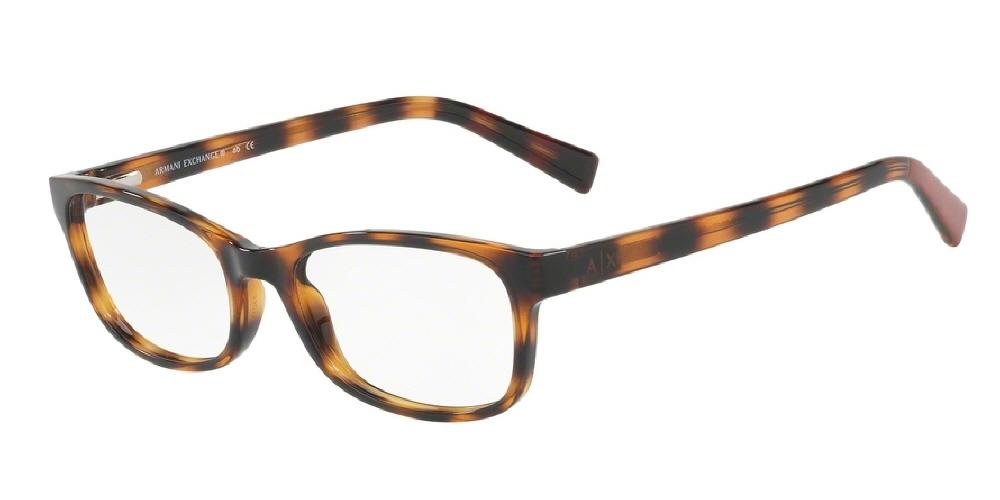 7pm view of Armani Exchange Eyeglasses - FUN ABOUT TOWN AX3043F 8224 55 TORTOISE HAVANA CLEAR DEMO LENS Women's Rectangle