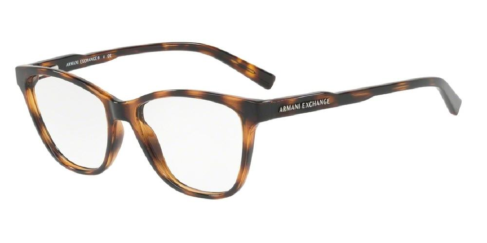 7pm view of Armani Exchange Eyeglasses - FUN ABOUT TOWN AX3044 8037 53 TORTOISE HAVANA CLEAR DEMO LENS Women's Rectangle