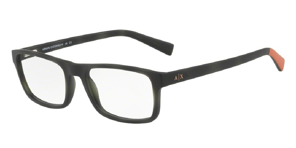 7pm view of Armani Exchange Eyeglasses - FUN ABOUT TOWN AX3046 8228 54 MATTE TORTOISE HAVANA DARK MOSS GREEN ORANGE CLEAR DEMO LENS Men's Rectangle