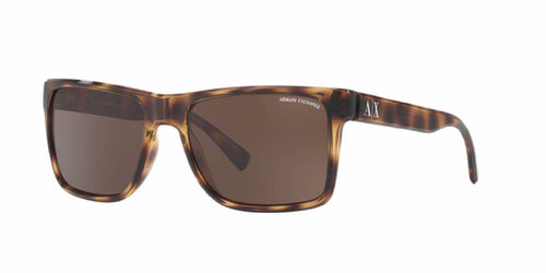 Angled Front View of Discount Armani Exchange Men's / Women's Sunglasses - HAVANA TORTOISE BROWN Square Full Rim AX4016 803773 57