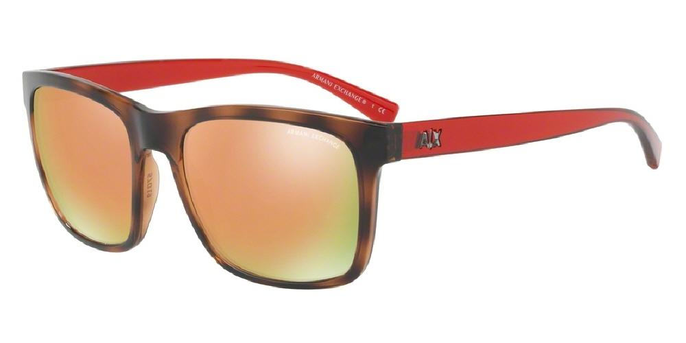 7pm view of Armani Exchange Sunglasses - FUN ABOUT TOWN AX4063SF 82154Z 58 ROSE GOLD MIRROR TRANSPARENT CHAMPAGNE TOP MATTE TORTOISE HAVANA GREY Men's Square