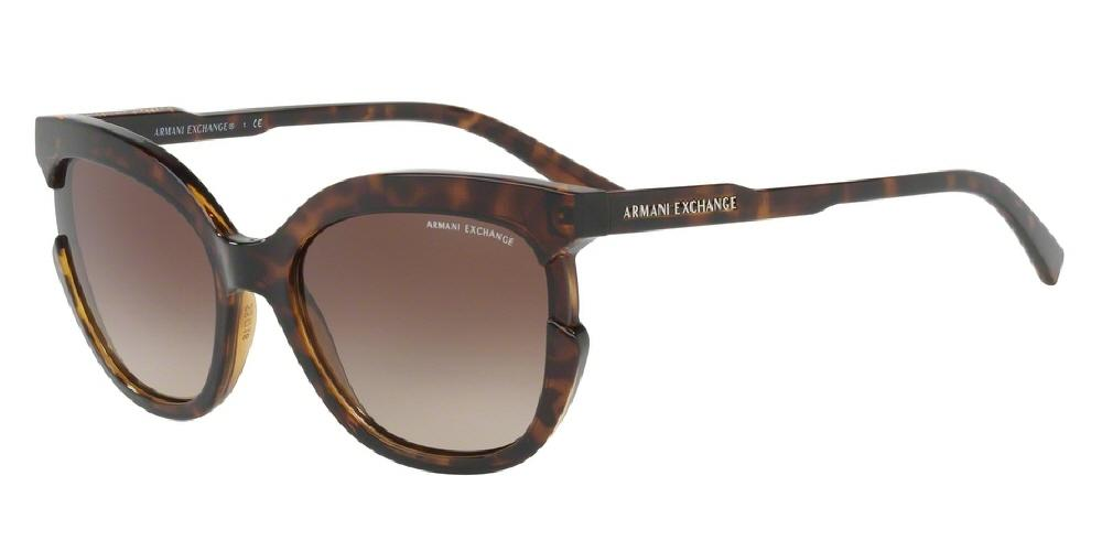 7pm view of Armani Exchange Sunglasses - FUN ABOUT TOWN AX4065S 803713 55 GRADIENT TORTOISE HAVANA BROWN Women's CAT EYE