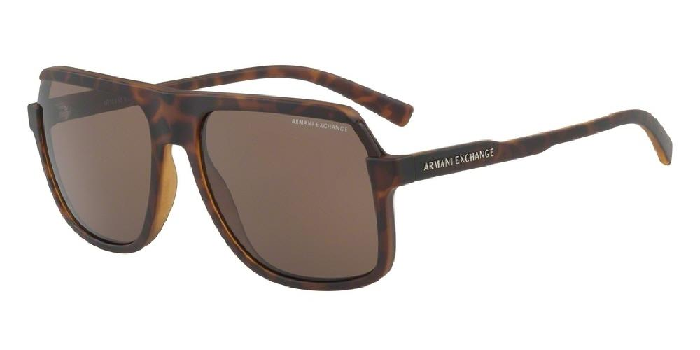 7pm view of Armani Exchange Sunglasses - FUN ABOUT TOWN AX4066SF 802973 58 MATTE TORTOISE HAVANA BROWN Men's Square