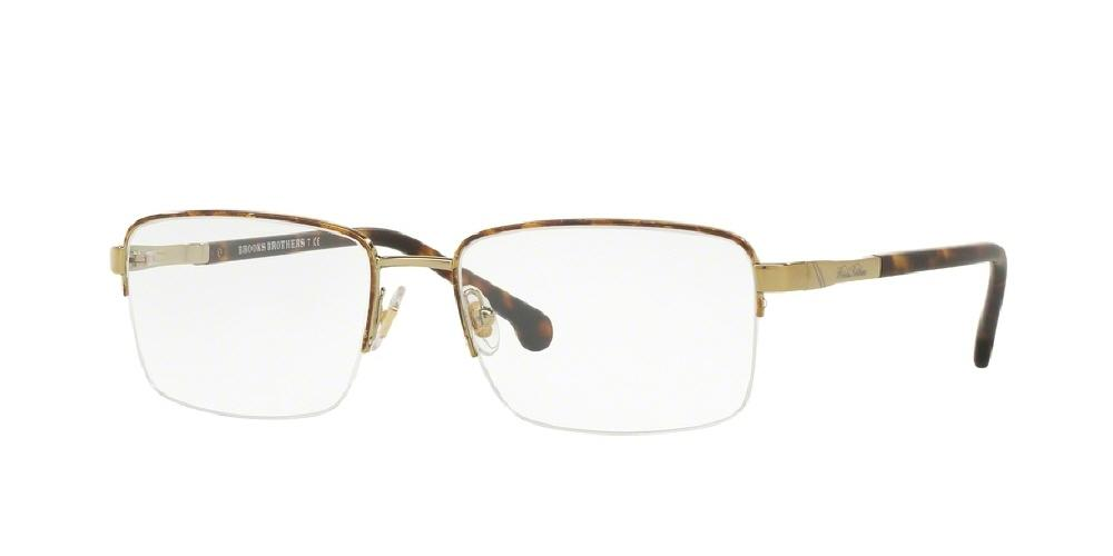 7pm view of Brooks Brothers Eyeglasses - CLASSIC (BB) BB1044 1001 56 GOLD CLEAR DEMO LENS Men's Rectangle Semi Rim