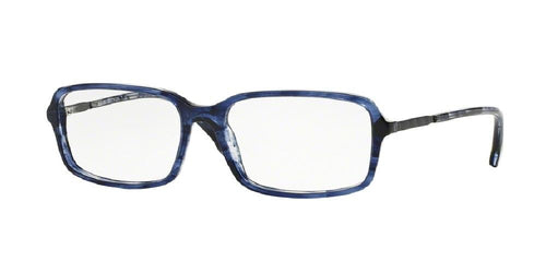 7pm view of Brooks Brothers Eyeglasses - MODERN (BB) BB2027 6091 55 NAVY BLUE HORN DARK GUNMETAL CLEAR DEMO LENS Men's Rectangle Full Rim